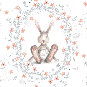 Ms Rabbit - cute watercolor bunny with delicate flowers
