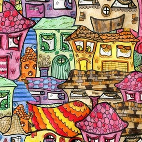 Suburbia Watercolor Collage, large scale, colorful rainbow