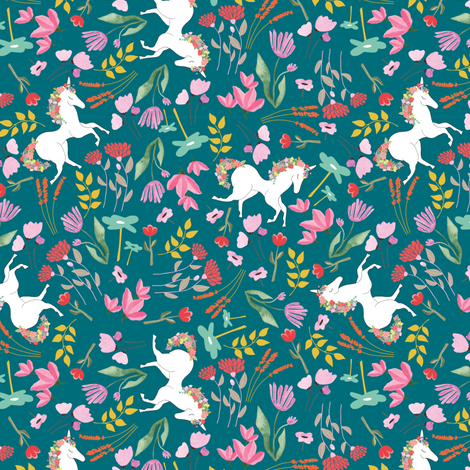 Unicorn fairytale floral fabric by thislittlestreet on Spoonflower - custom fabric