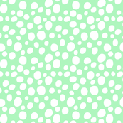 WHITE DOTS on mint green