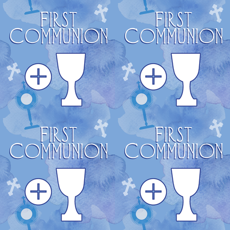 First Communion blue watercolor fabric by magneticcatholic on Spoonflower - custom fabric