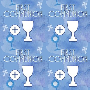 First Communion blue watercolor