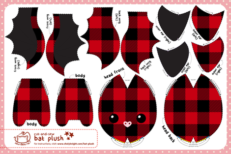 Cut & Sew Plaid Bat Plush fabric by sewdesune on Spoonflower - custom fabric