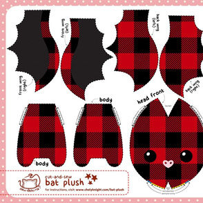 Cut & Sew Plaid Bat Plush