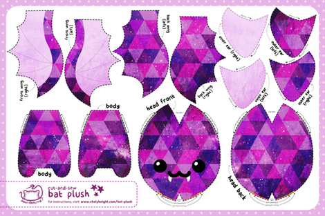 Cut & Sew Triangle Bat Plush fabric by sewdesune on Spoonflower - custom fabric