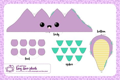 Cut & Sew Purple Dino Plush fabric by sewdesune on Spoonflower - custom fabric