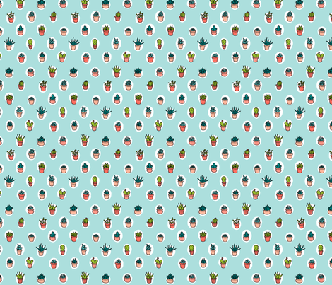 Aqua Succulents fabric by emilymurphey on Spoonflower - custom fabric