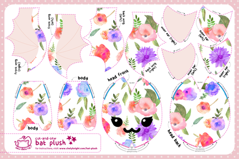 Cut & Sew Floral Bat Plush fabric by sewdesune on Spoonflower - custom fabric