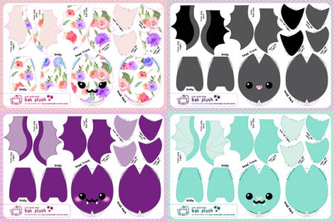 Cut & Sew Bat Plush Compilation - Classic fabric by sewdesune on Spoonflower - custom fabric