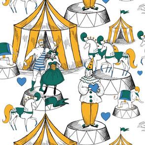 Vintage circus love triangle