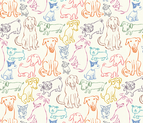 MONGRELS_AND_MUTTS fabric by nadinewestcott on Spoonflower - custom fabric