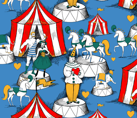Vintage circus love triangle on blue fabric by beesocks on Spoonflower - custom fabric