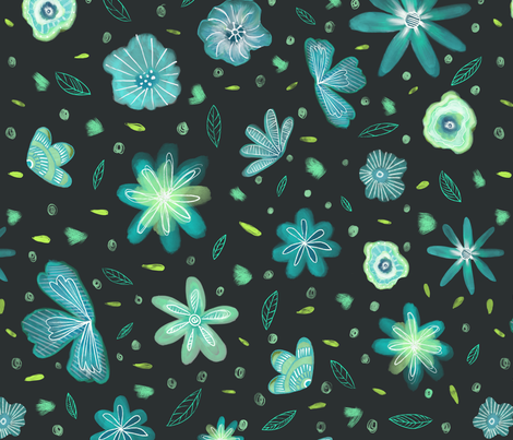 Ditsy Floral II fabric by carolinacotoart on Spoonflower - custom fabric