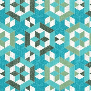 Textured Turquoise and Green Hexagons and Diamonds