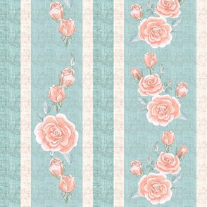 Old Fashioned Rose Stripe Pink and Turquoise