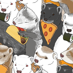 Ferrets and snack foods large - pizza tacos cheeseburger sushi pretzel fries cheese puffs