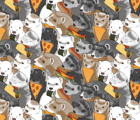 Ferrets and snack foods medium - pizza tacos cheeseburger sushi pretzel fries cheese puffs fabric by rusticcorgi on Spoonflower - custom fabric
