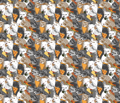 Ferrets and snack foods small - pizza tacos cheeseburger sushi pretzel fries cheese puffs fabric by rusticcorgi on Spoonflower - custom fabric