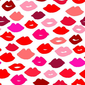 lips  fabric // lipstick fashion beauty makeup valentines kiss love fabric illustration pattern for girls