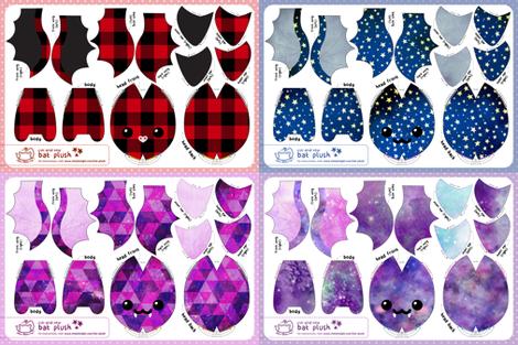 Cut & Sew Bat Plush Bundle Dark fabric by sewdesune on Spoonflower - custom fabric