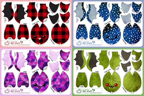 Cut & Sew Bat Plush Compilation Dark fabric by sewdesune on Spoonflower - custom fabric