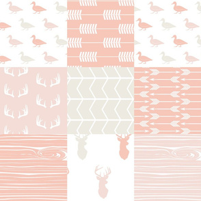 Patchwork Woodland Wholecloth - ducks and deer - pinks