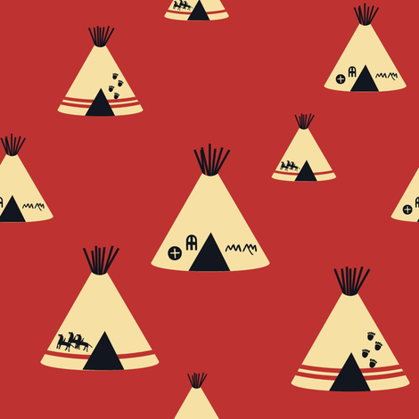 Teepees - Red fabric by sheila_marie_delgado on Spoonflower - custom fabric