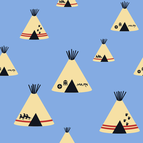 Teepees - Blue fabric by sheila_marie_delgado on Spoonflower - custom fabric