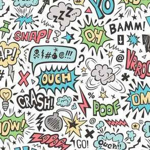Comic Book Speech Text Bubbles Superhero Doodle
