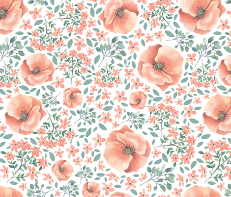Peach watercolor florals fabric by lisa-glanz on Spoonflower - custom fabric