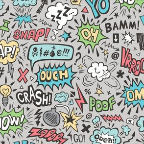 Comic Book Speech Text Bubbles Superhero Doodle on Grey
