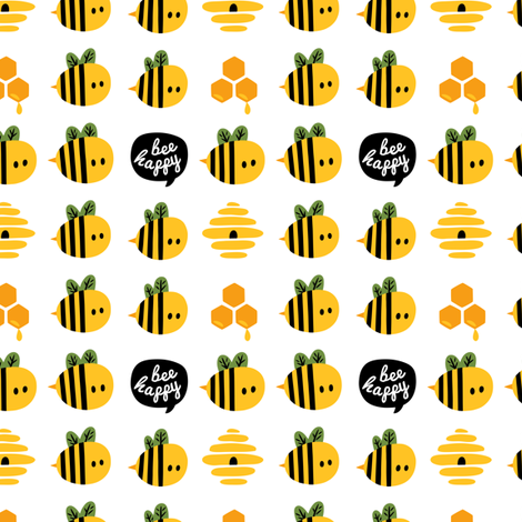 Bee happy fabric by penguinhouse on Spoonflower - custom fabric