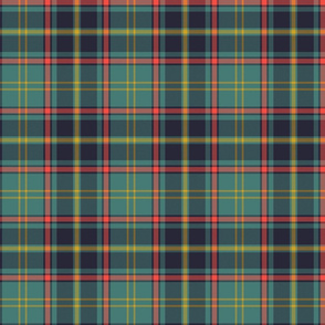 "Antrim Irish district tartan, 6"" teal - yellow stripe"