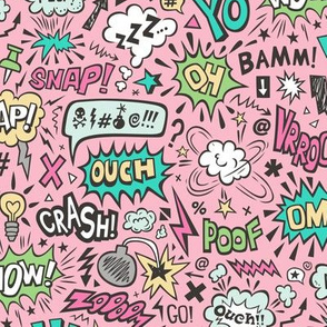 Comic Book Speech Text Bubbles Superhero Doodle on Pink