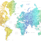 Rainbow watercolor world map with cities