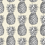 classic pineapples - grey on cream, small