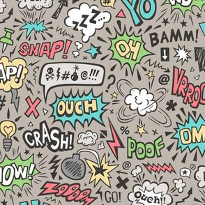 Comic Book Speech Text Bubbles Superhero Doodle on Warm Grey Almond