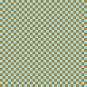 Tiny  Checkerboard of tan and blue-green