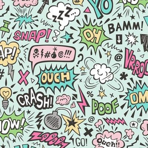 Comic Book Speech Text Bubbles Superhero Doodle Pink Mint Green Yellow on Mint