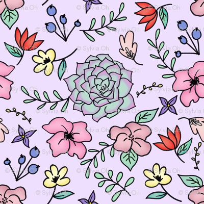 Floral Doodle on Pastel Purple Medium scale