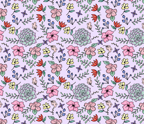 Floral Doodle on Pastel Purple Medium scale fabric by sylviaoh on Spoonflower - custom fabric