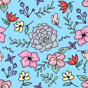 Floral Doodle blue Medium Scale