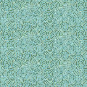 Swirls - Turquoise and Moss