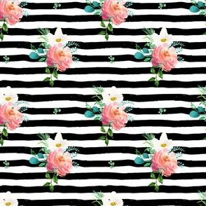 "3"" Flamingo Park Black and White Stripes Floral"