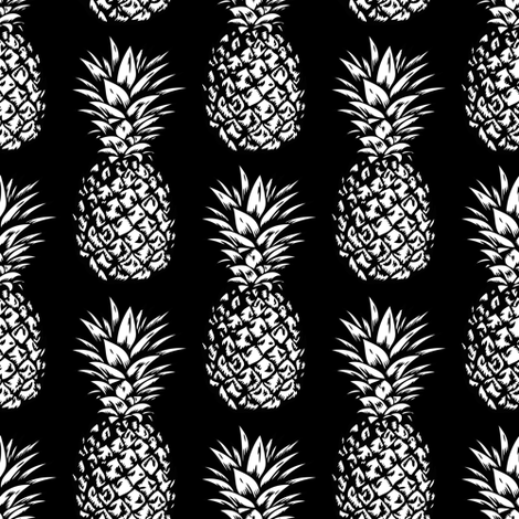 classic pineapples - white on black, small fabric by mirabelleprint on Spoonflower - custom fabric