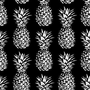 classic pineapples - white on black, small