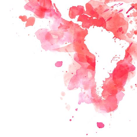 Pink watercolor splatters world map wallpaper - blursbyai - Spoonflower