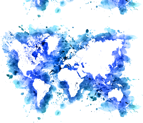 Blue splatters watercolor world map wallpaper blursbyai spoonflower blue splatters watercolor world map fabric by blursbyai on spoonflower custom fabric gumiabroncs Image collections