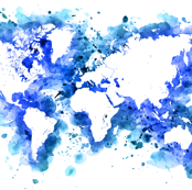 Blue splatters watercolor world map