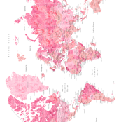 Pink watercolor world map with cities